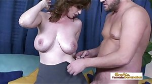 Pale naturally busty MILF procurement her hairy pussy drilled