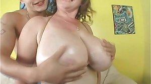 Busty MILF Tit Fucks College Stud