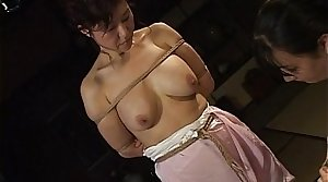 Mature bitch gets roped up coupled with hung in a bdsm set-to