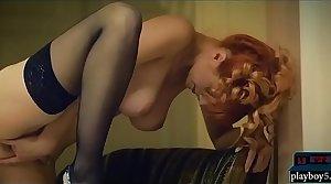 Amazing busty redhead MILF yon lingerie hot masturbation