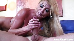 Blonde housewife Taylor Wane with gigantic boobs in sexy underwear seduces the st