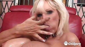 Tia Gunn Licks Cum Stay away from Her Big Phony Tits