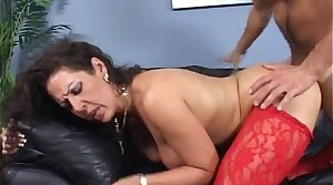 Step mom nigh big tits banged in doggy surpassing couch