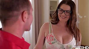 Ultra Hot & Busty Amanuensis in Glasses Rides a Hard Dick