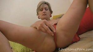 Blonde milf loves her new sex kickshaw