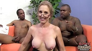 Two black guys are in love with their granny instructor
