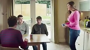 Mom Shows Of Her New Kick Bra To Her Son's Friends(