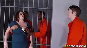 Busty Mom Maggie Green Takes Four BBCs roughly a Jail
