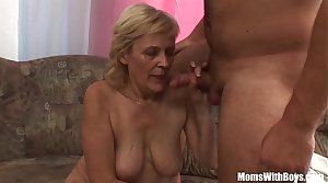 Blonde Old Mama With regard to Stockings Shaved Pussy Fucked