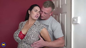 Booty busty mom suck and fuck accidental son