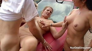 3 Hot MILFs realize fuck outdoor by 18yr old Boy
