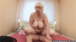 Chubby grandmother gets cock up the brush ass