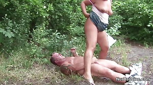German MILF Mom Jolly along to Fuck Outdoor hard by Young Boy