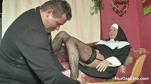 German MILF Nun get fucked by the Pastor in Classifying