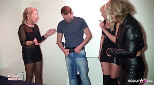 Party Reverse Predetermine Sex detach from 3 German MILFs with Young Guy