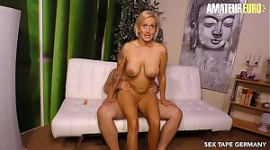 AMATEUR EURO - Big Tits MILF Wife Leni Gets Pounded Deep And Hard By Her Hubby In the sky Cam Sex