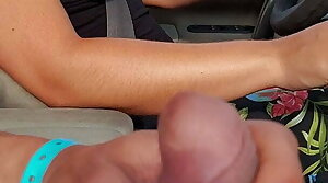 She drives topless.. I jerk my cock ..